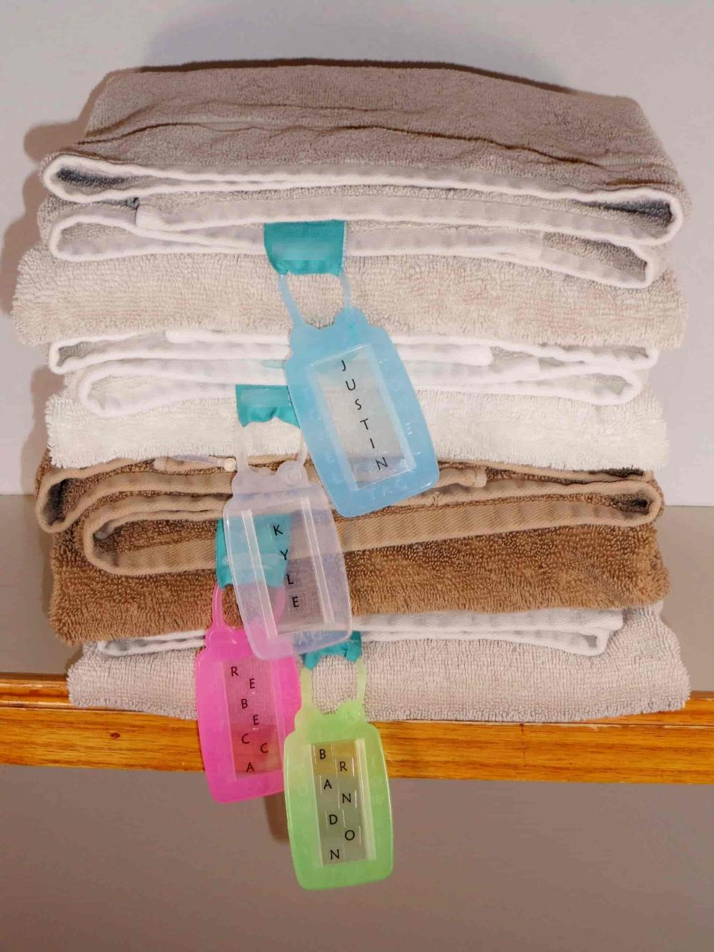 towel name tag, name tag for towels, name your towel, organize your bathroom, bathroom accessories