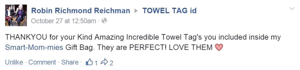 Robin Richmond Reichman comment to Towel Tag id
